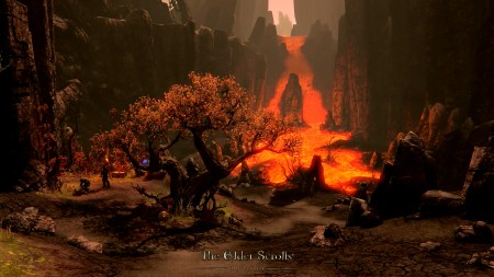 Morrowind's harsh volcanic landscape